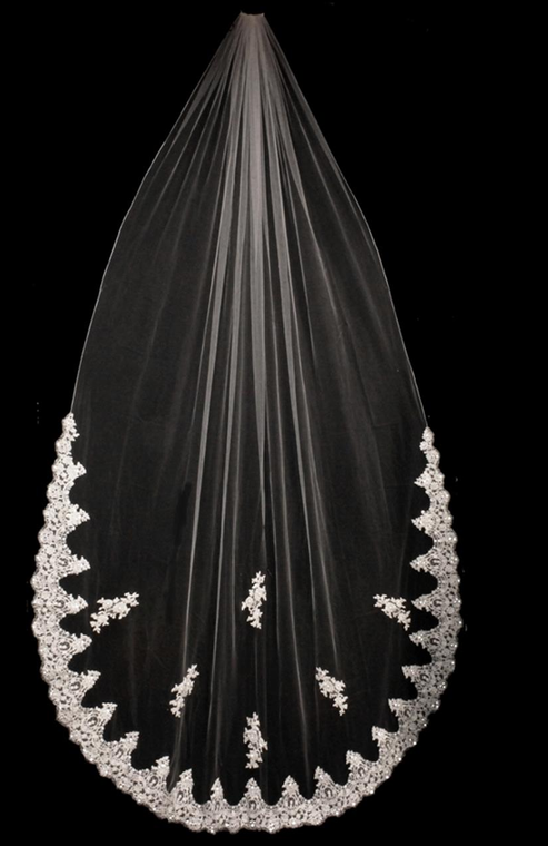Beaded French Lace Edge Cathedral Wedding Veil with Lace Appliques
