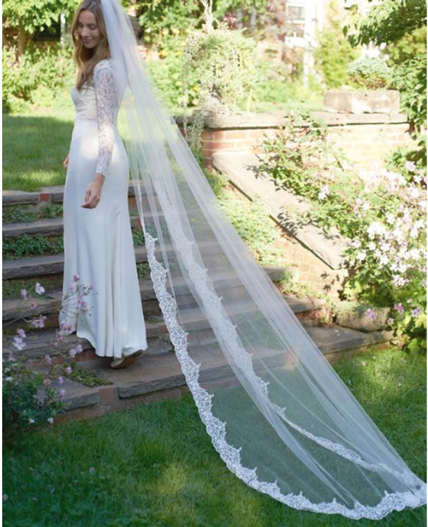 Beaded Partial Lace Edge Cathedral Wedding Veil V5048C