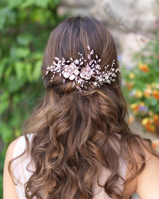 """8"""" Long Floral Vine Wedding Hair Clip in Silver, Gold, or Rose Gold"""