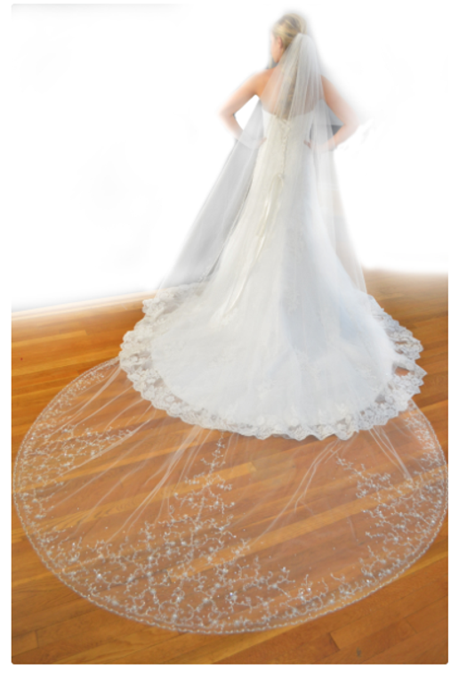 Ansonia Bridal Beaded Embroidery Cathedral Wedding Veil 752L