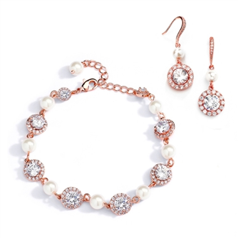 Rose Gold Pearl and CZ Wedding Bracelet and Earring Set