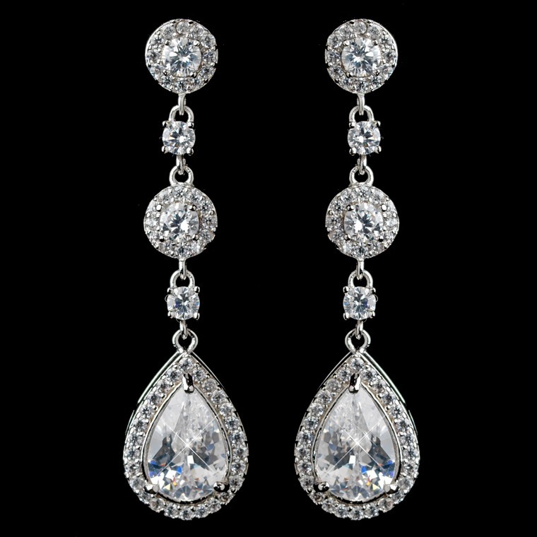 Clear CZ Drop Wedding and Formal Earrings in Silver