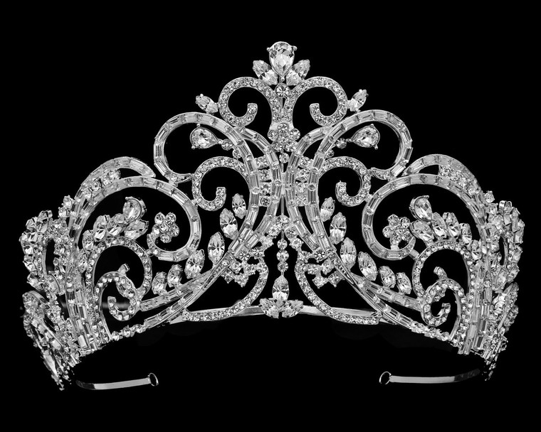 "3 1/2"" Tall Silver Plated Crystal Wedding and Quinceanera Tiara"