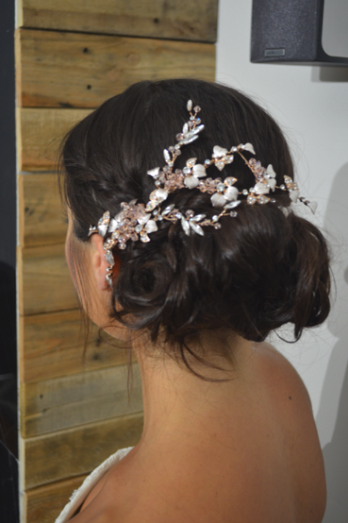 Rose Gold and Blush Floral Wedding Hair Clip Ansonia Bridal 8797