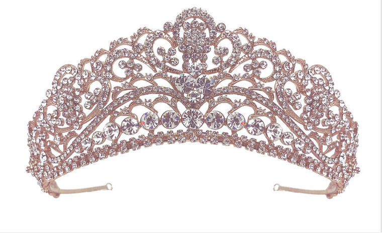 Rose Gold,  Silver or Gold Rhinestone Wedding and Quinceanera Tiara
