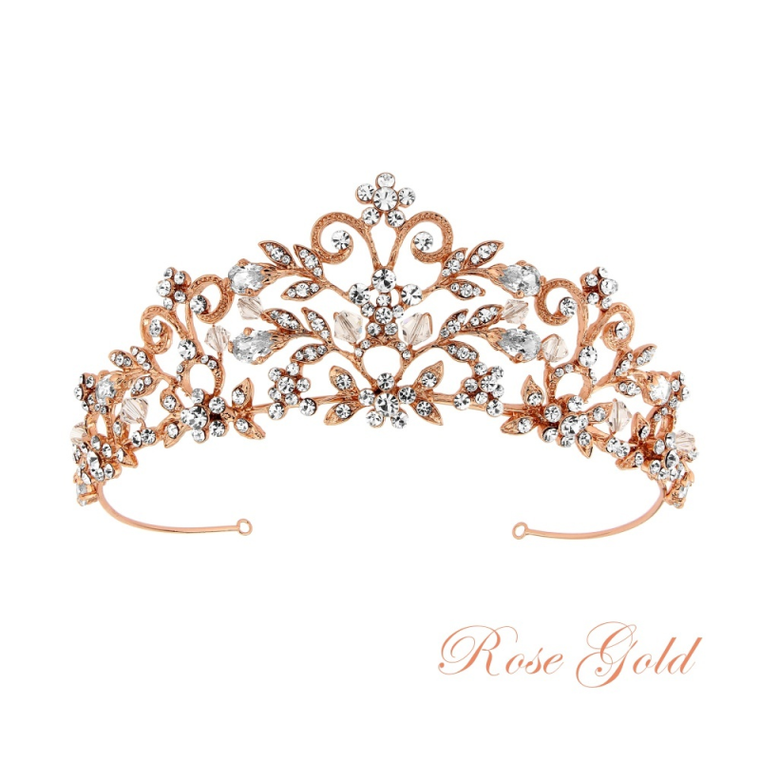 Rose Gold Plated Crystal Rochelle Enchantment Wedding Tiara