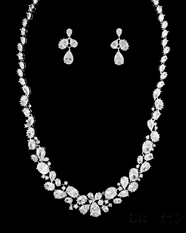 """Multi Cut CZ Bridal Jewelry Set with 18 1/2"""" Long Necklace"""