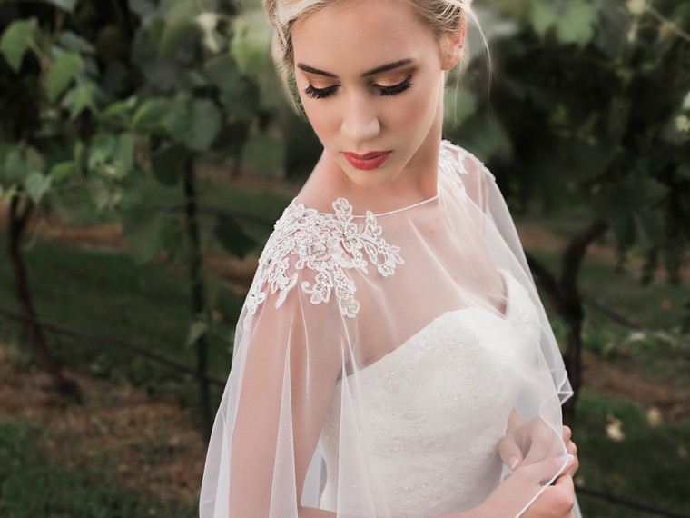 Long Tulle Wedding Capelet with Lace Design CP1849