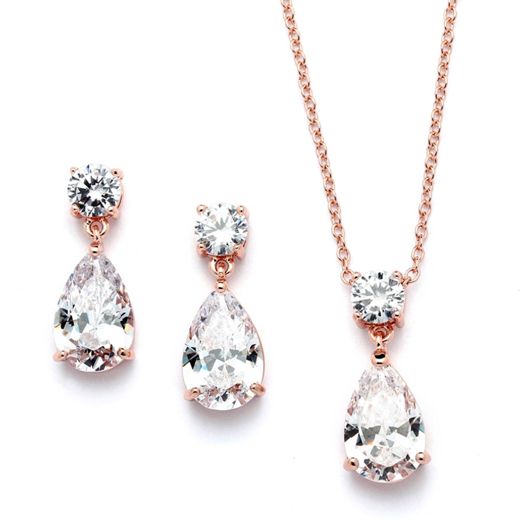 6 Sets Dainty Rose Gold Plated Crystal Bridesmaid Jewelry