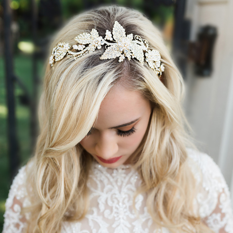 Light Gold Rhinestone Leaf  Headband with Pearls Envogue HB1917