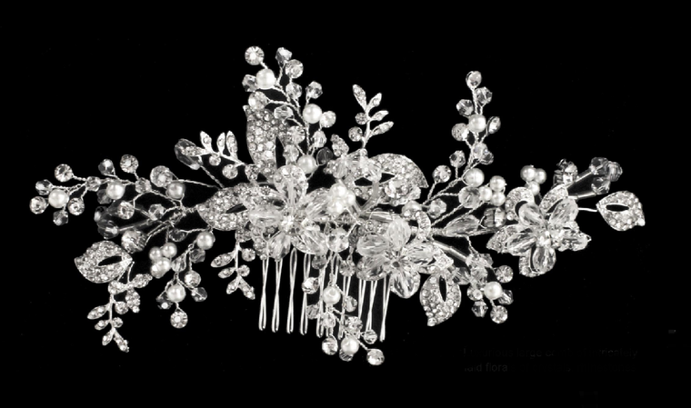 Large Pearl, Rhinestone and Crystal Floral Bridal Comb