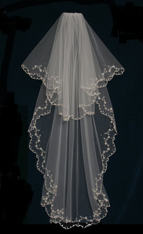 Two Layer Beaded Embroidery Waltz Length Wedding Veil