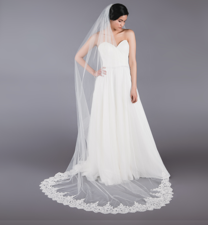 Royal Cathedral Wedding Veil with Partial lace Ansonia Bridal 102L