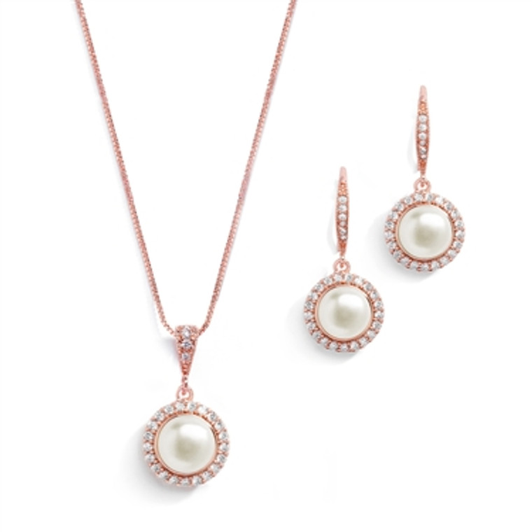 Freshwater Pearl Rose Gold Bridal Jewelry with CZ Frame
