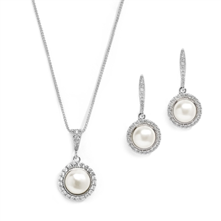 Freshwater Pearl Silver Bridal Jewelry with CZ Frame