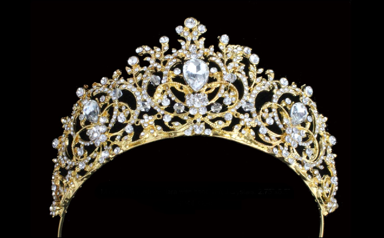 Gold Plated Majestic Crystal Wedding and Quinceanera Tiara