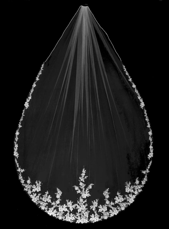 Royal Cathedral Wedding Veil with Two Tone Beaded Alencon Lace