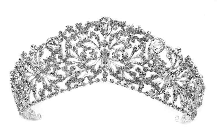 "Silver, Gold or Rose Gold  Plated 2 1/2"" Wedding and Quinceanera Tiara"
