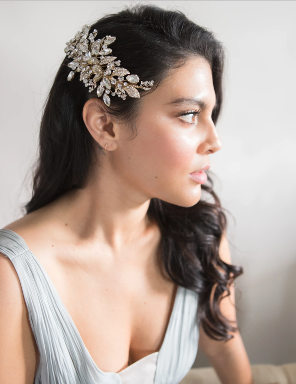 Dazzling Gold or Silver Plated Wedding Hair Clip