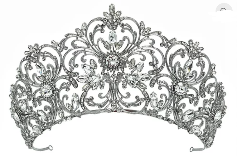 """Silver Plated 3 1/2"""" Tall  Wedding and Quinceanera Tiara"""