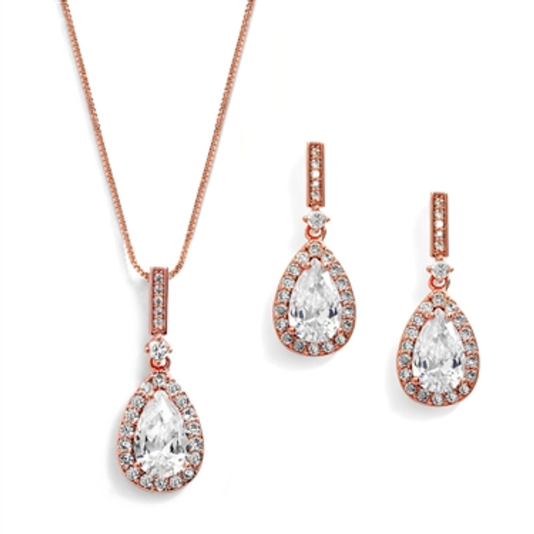 5 Sets 14K Rose Gold Plated Pear Shape CZ Bridesmaid Jewelry