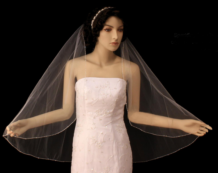 Crystal Beaded Fingertip Length Wedding Veil V3098
