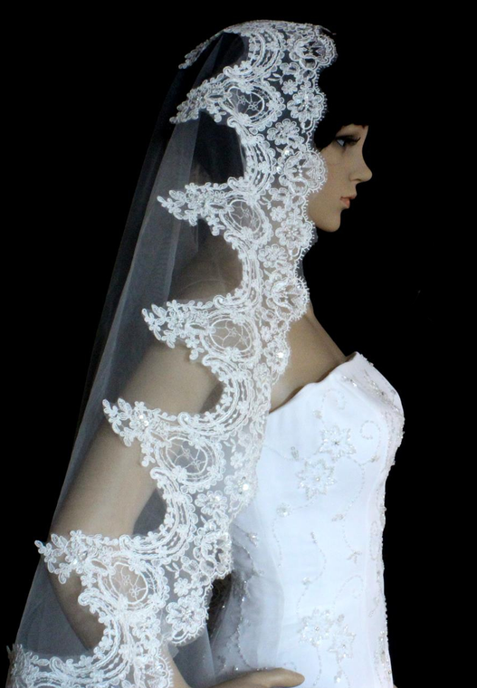 "Regal Cathedral 144"" Long Beaded Lace Mantilla Wedding Veil"