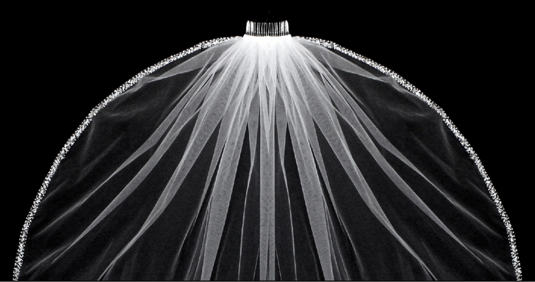 """Regal Cathedral Beaded Edge Extra Width 144"""" Long Wedding Veil"""