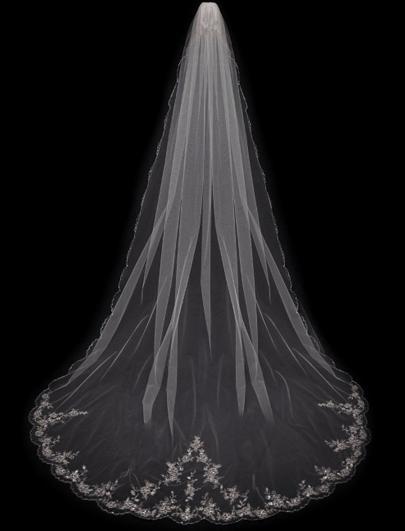 "180"" Long Regal Cathedral Beaded Embroidery Extra Wide Wedding Veil"