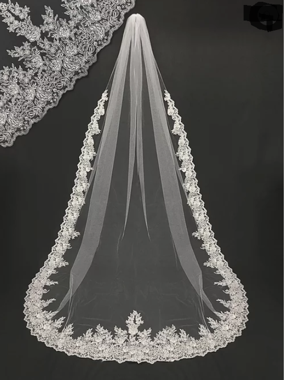 Plush Embroidered Lace Cathedral Wedding Veil V3054L