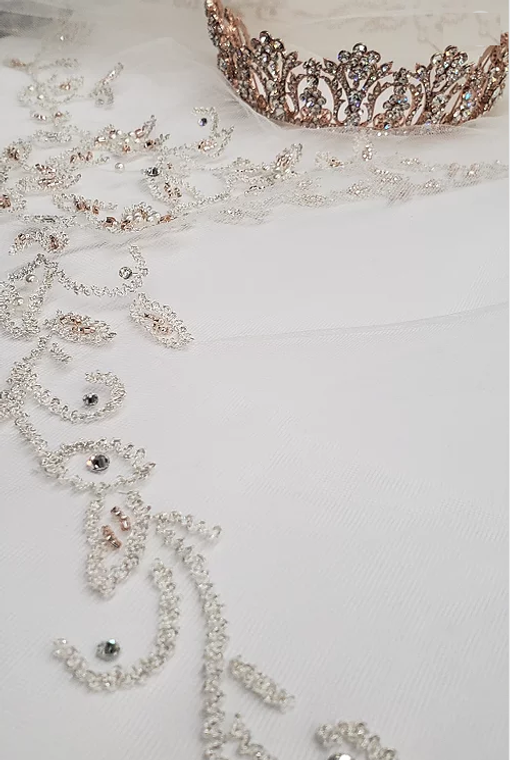 Blush Beaded Silver Embroidery Royal Cathedral Wedding Veil