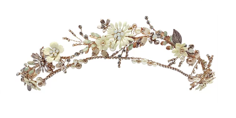 Rose Gold Floral Pearl and Opal Wedding Headband