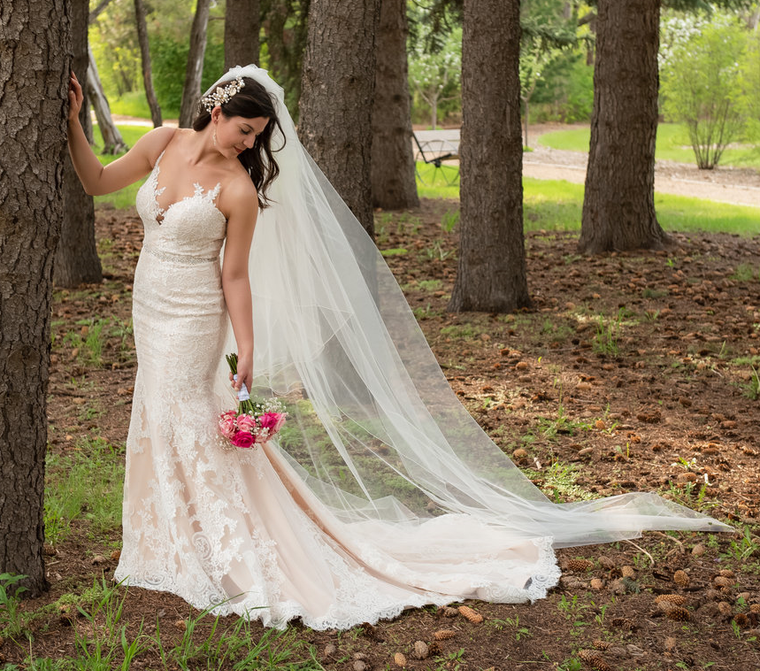 Two Layer Circular Fold Over Cathedral Wedding Veil