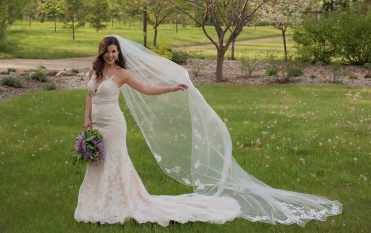 Regal Cathedral Wedding Veil with Beaded Lace Appliques