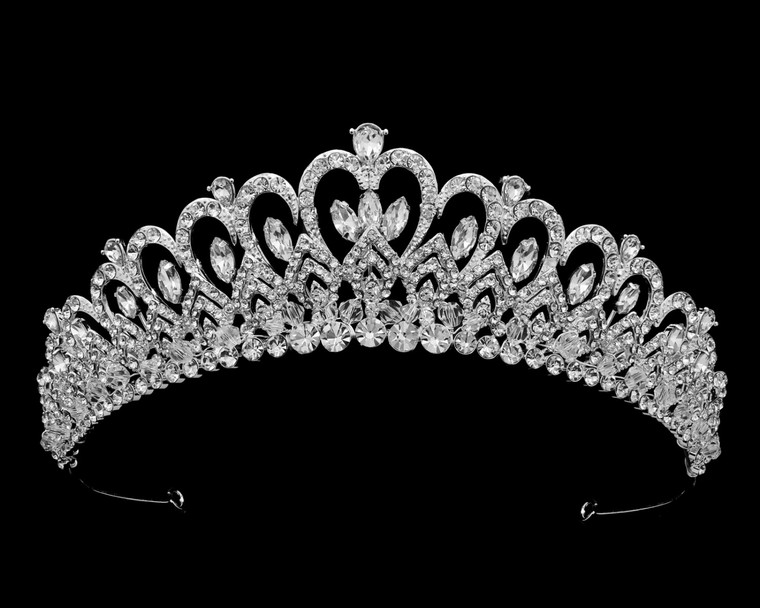 Heart Theme Crystal and Rhinestone Bridal and Quinceanera Tiara