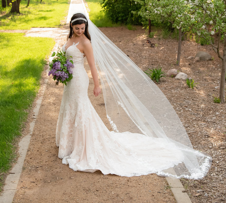 Beaded Venice Lace Cathedral Wedding Veil