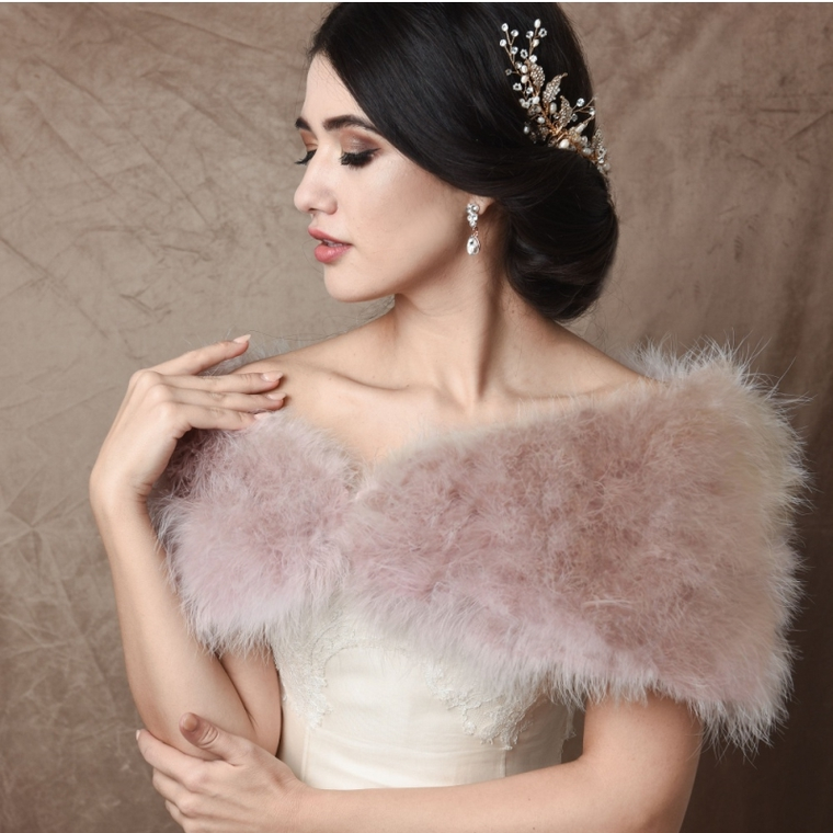 Blush Pink Vintage Inspired Marabou Feather Bridal Stole Wrap