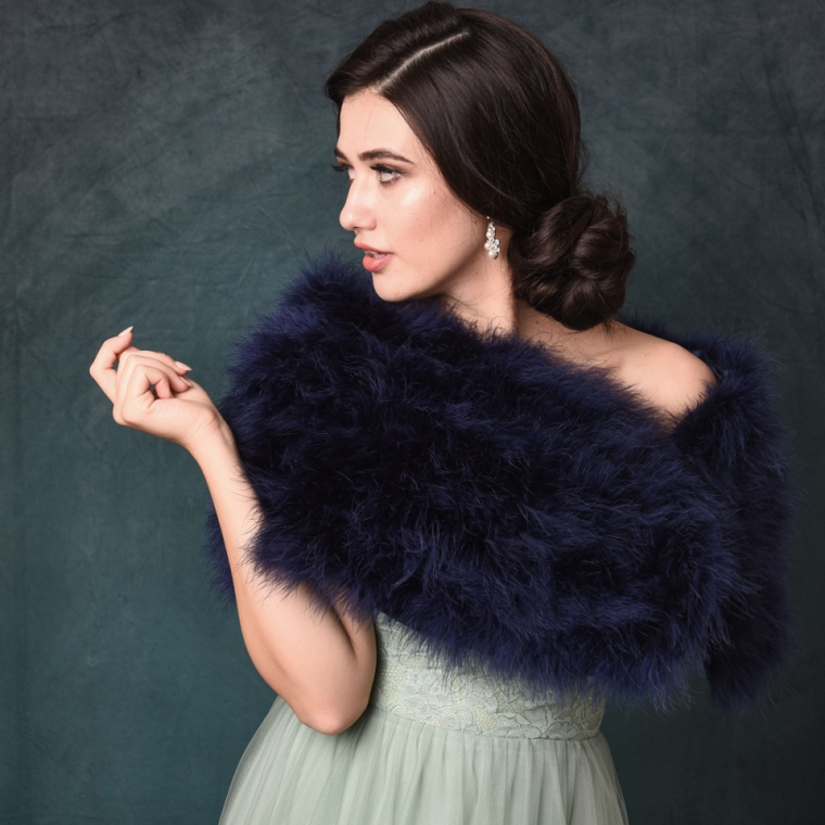 Navy Blue Vintage Inspired Marabou Feather Bridal Stole Wrap