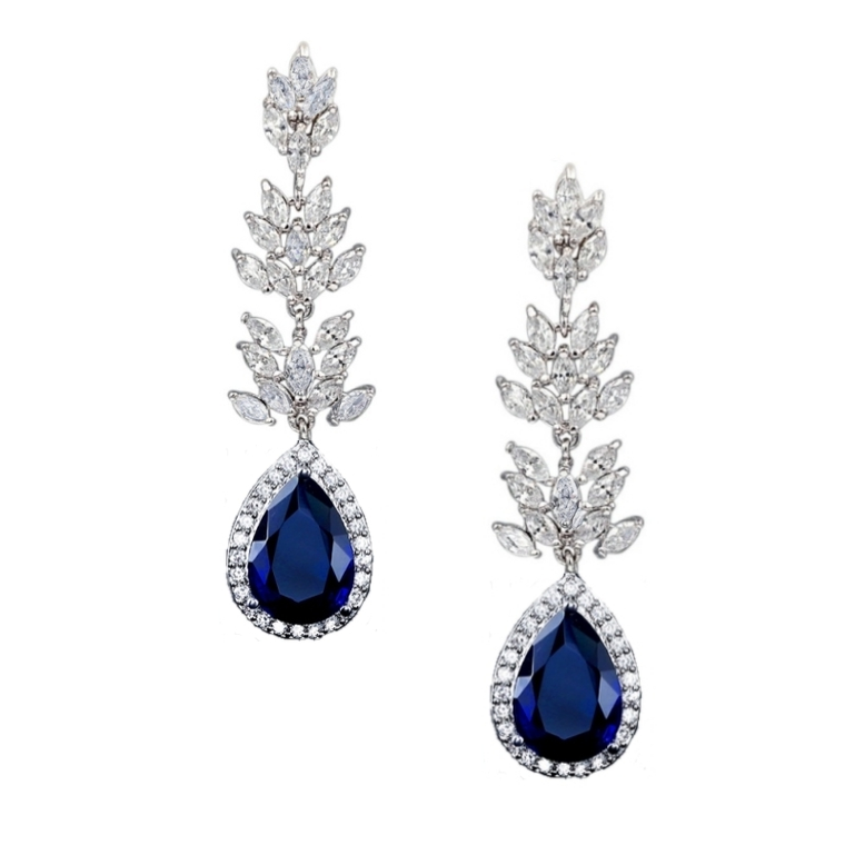 Glamorous Sapphire Blue CZ Wedding and Formal Earrings