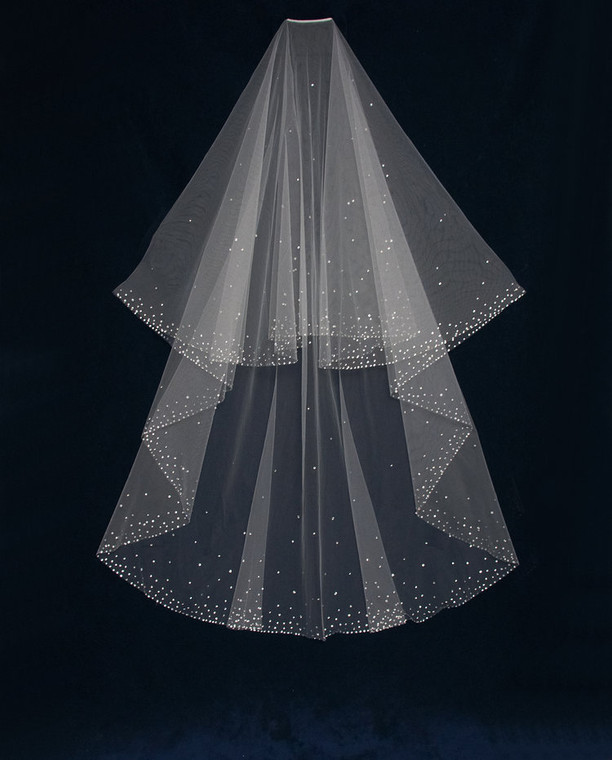 Two Layer Rhinestone Scatter Chapel Length Wedding Veil C542
