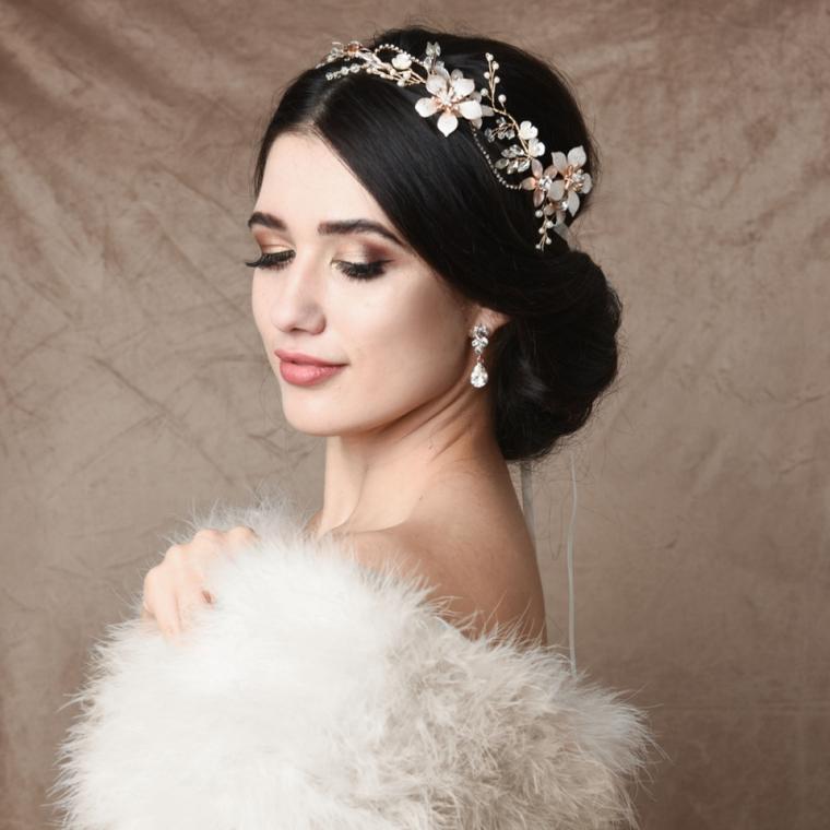 Blush Pink Floral Pearl and Crystal Wedding Vine Headband