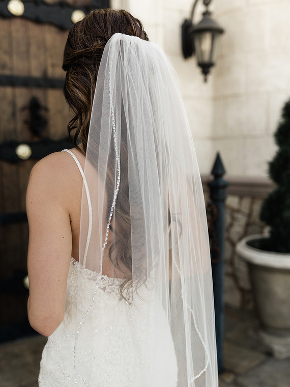 "Crystal Beaded Edge 41"" Long  Fingertip Wedding Veil enVogue V2092SF"