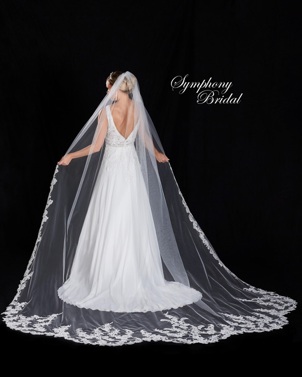 Royal Cathedral Wedding Veil Scallop Lace Symphony Bridal 7472VL