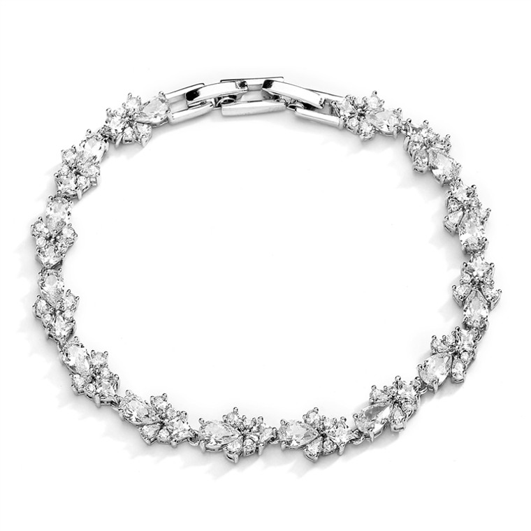 CZ Pears and Rounds Cluster Wedding and Formal Bracelet