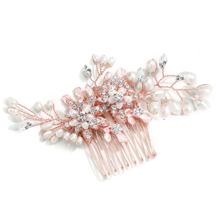 Rose Gold Crystal and Pearl Bridal Hair Comb