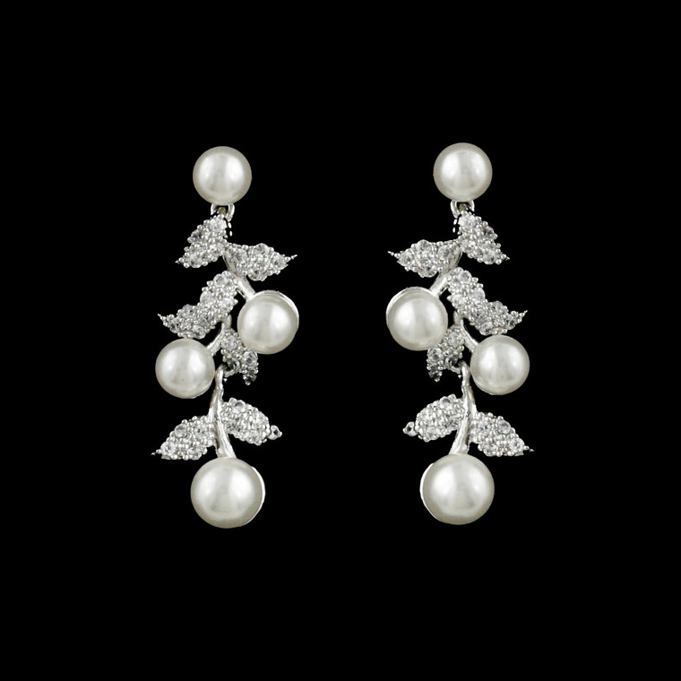 Sterling Silver Floral Vine CZ and Pearl Wedding Earrings