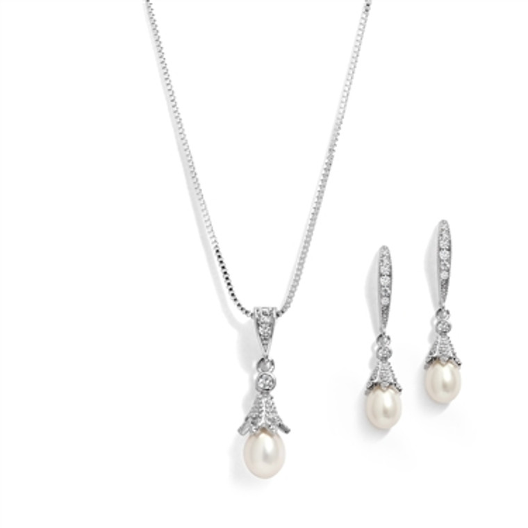 Vintage Look Freshwater  Pearl and CZ Wedding Jewelry Set