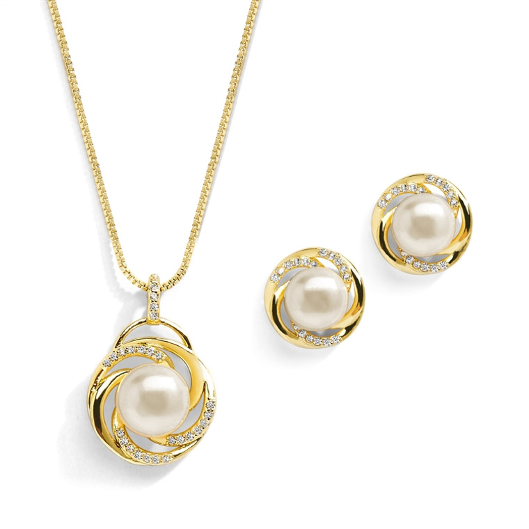 Freshwater Pearl Gold Plated  Wedding Jewelry Set