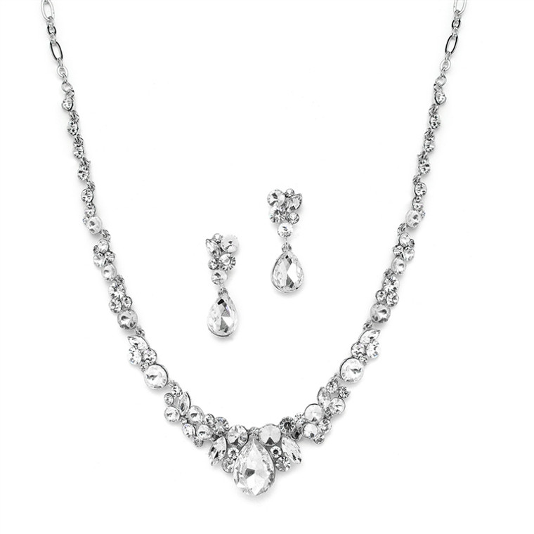 Crystal Wedding and Prom Jewelry Set in Silver Plating