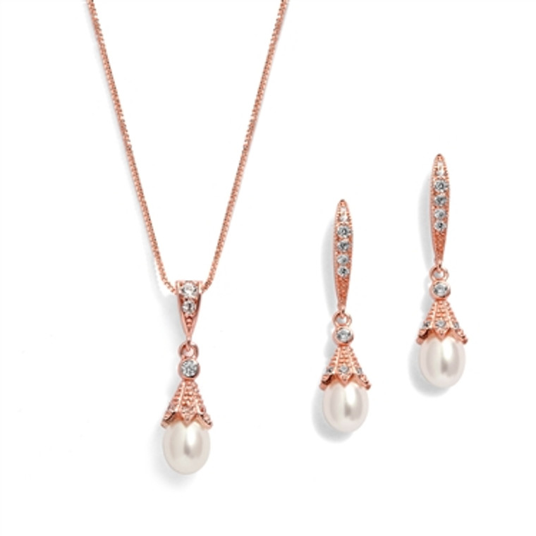 Vintage Look Rose Gold Freshwater Pearl and CZ Wedding Jewelry Set